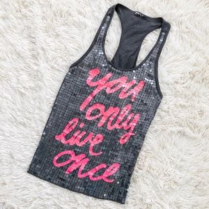 VS Pink You Only Live Once Racerback Sequin Tank